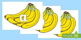 Phase 2 Phonemes on Bananas - phonics, letters and sounds, spelling, language, vocabulary, ks1, fruit, banana,