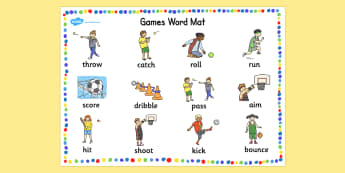 PE Games Word Mat - EAL, EASL, Physical Education, word mat, EAL