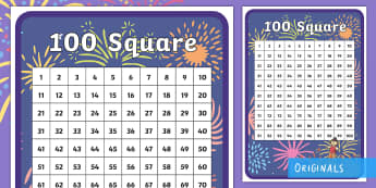 Sparks in the Sky 100 Number Square - fireworks, bonfire night, guy fawkes, firework night, sparklers, counting, 100, 100 square, hundred