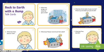 Back to Earth with a Bump Talk Cards - Twinkl originals, fiction, KS1, EYFS, space, comprehension, inference, deduction