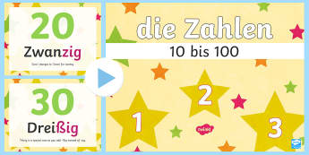 Numbers Ten to One Hundred PowerPoint-German - Numbers, Counting, Zehnerzahlen, German, modern foreign language, mfl, one, hundred, tens, maths, nu