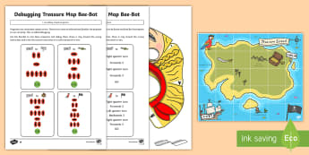 Create and Debug Programs with Treasure Map Bee-Bot Activity Pack - KS1, curriculum aims, computing, Bee-Bot, instructions, algorithms, debug, create, mat, control, pro