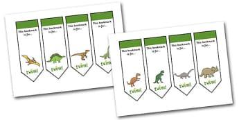 Editable Dinosaurs Bookmarks - Bookmark, bookmark template, dinosaur, gift,  present, book, reward, achievement, history, t-rex, stegosaurus, raptor, iguanodon, tyrannasaurus rex