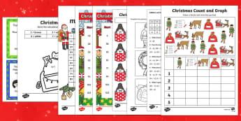 Top Ten KS1 Christmas Maths  Activity Sheet Pack