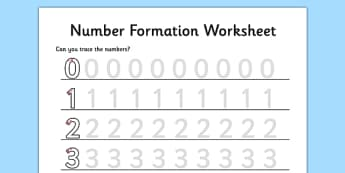 Number Formation Worksheet 0 to 9 - maths, numeracy, initial, early years, ks1, key stage 1, writing, pd, fine motor skills, overwriting