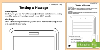 Texting a Message Activity Sheet - Amazing Fact Of The Day, activity sheets, powerpoint, starter, morning activity, worksheet, April, t