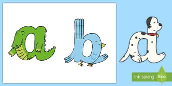 Lower Case Continuous Cursive Animal Alphabet Display Lettering - Lower Case Animal Alphabet Display Lettering - display lettering, animal, alphabet, display lettring