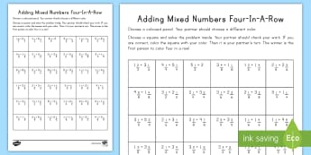 Adding Mixed Numbers 4-in-a-Row Game - mixed numbers, adding mixed numbers, improper fractions, simplifying fractions, fractions, common co