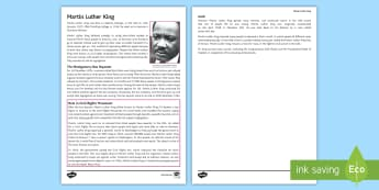 Martin Luther King Fact File - rights, responsibilities, legal rights, moral rights, legal responsibilities, moral responsibilities