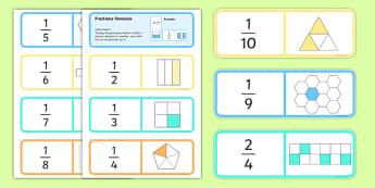 Fractions Dominoes - fractions, dominoes, activity, fractions dominoes