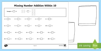 Missing Number Addition Within 10 Worksheet / Activity Sheet - Mental Maths Warm Up + Revision - Northern Ireland, addition within 10, missing number.