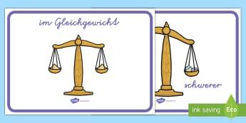Gewichte vergleichen Poster für die Klassenraumgestaltung - Wiegen, Gewicht, Murmeln, Waage, leicht, schwer, ,German