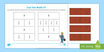 Can you build it? Activity Sheet  - fractions, maths, ks1, understanding, motor skills, Welsh, worksheet