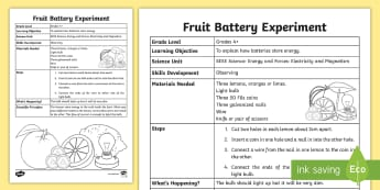 Fruit Battery Science Experiment - Electricity, electromagnetism, magnetism, experiment, investigation, electric, circuits
