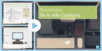 New Technologies PowerPoint Spanish  - KS4, Spanish, New Technologies, everyday, life, ordenador, movil, teléfono, tableta, portatil, vide