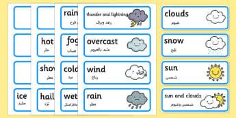Weather Word Cards Arabic Translation - arabic, weather, word cards, word, cards