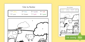 Farm Color by Numbers Activity - farm, color, color by numbers, creativity, activity
