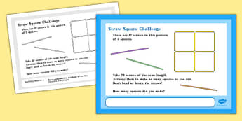 A4 Straw Square Maths Challenge Poster - challenge poster, straw