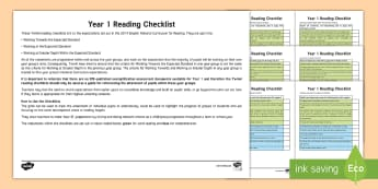 Year 1 Reading Checklist - reading exemplification, reading assessment, assessment, guided reading, age-related expectations, a