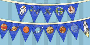 Space Themed Birthday Party Picture Bunting - parties, birthdays