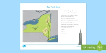 New York Map Activity Sheet - New York, New York Map, Adirondack Mountains, Catskills Mountains, Hudson River