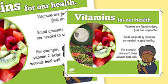 Year 6 Vitamins Display Poster - healthy eating, ourselves, food