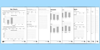 LKS2 Draw Bar Charts Differentiated Worksheet / Activity Sheets - interpret and present data using bar charts, pictograms and tables, interpret and present discrete a