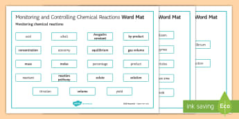 OCR Gateway Chemistry Monitoring and Controlling Chemical Reactions Word Mat - Word Mat, keywords, gcse, Monitoring chemical reactions, Controlling reactions, Equilibria,