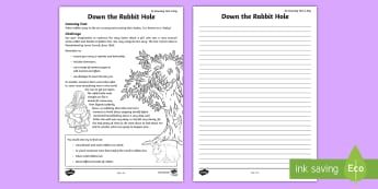 Down the Rabbit Hole Worksheet / Activity Sheet - amazing fact august, story writing, story starter, story about a rabbit, rabbit, mystery story, work