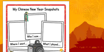 Chinese New Year Snapshot Writing Frame - writing, frame, chinese