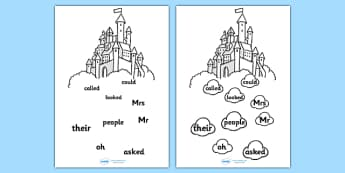 Phase 5 Tricky Word Stepping Stone Colouring Worksheet / Activity Sheet - tracing letters, phonemes, handwriting, letter formation, writing practice, foundation, letters, writing, learning to write, DFES letters and sounds, Phase 2, Phase 3, Phase tw