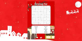 Christmas Fair Word Search - christmas fair, wordsearch, word search