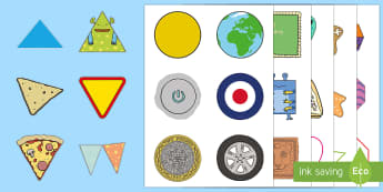 2D Shapes and Images Cut-Outs - Beginning to use mathematical names for  'flat' 2D shapes, and mathematical terms to describe sh