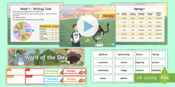Year 3 Spring 1 Word Of The Day Display Pack - vocabulary, nouns, adjectives, adverbs, verbs, multisyllabic words, SPaG, spelling, language