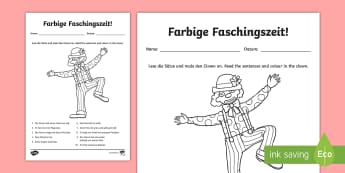 Carnival in Germany Read and Colour Worksheet / Activity Sheet - Carnival, Germany, German, Fasching, Fastnacht, Karneval, Colours, Farben,, Clothes
