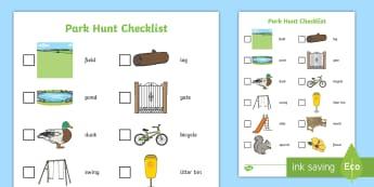 Park Hunt Checklist - park, hunt, checklist, check, list, activity