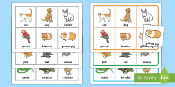 Pets Bingo and Lotto Game - EYFS, Early Years, KS1, Pets, Animals, National Pet Month, cat, dog, rabbit, PSED, taking turns, gam