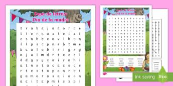 Sopa de Letras: El día de la madre - Día de la madre, adjetivos, Mother's Day Spanish, descripción, sopa de letras,Spanish