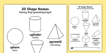3D Shapes Words Colouring Sheets Polish Translation - 3D Shapes Words Colouring Sheets - 2D, shape, colouring, wet play, 3dshapes, shpes, colering, 3d sha