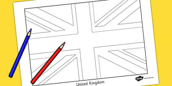 United Kingdom Flag Colouring Sheet - countries, geography