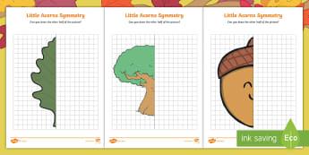 Little Acorns Symmetry Activity Sheets - KS1, Maths, line of symmetry, reflection activity, seasons, autumn, oak tree, leaf, acorn, worksheet