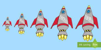 Rocket Themed Vertical Numbers - Numbers 0-20 on rockets, rocket, space, topic,  foundation stage numeracy, Number recognition, Numbe