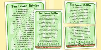 Ten Green Bottles Nursery Rhyme Poster - australia, rhyme, poster