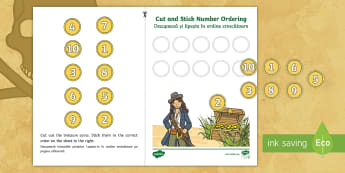 Pirate Themed Cut and Stick Number Ordering 1 10 Activity - English/Romanian - Pirate Themed Cut and Stick Number Ordering Activity 1-10 - cut, prirate, seriation, EAL