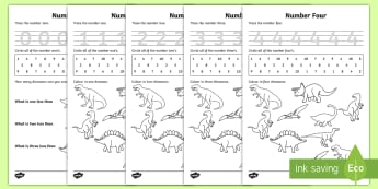 Dinosaur Themed 0 20 Number Formation Workbook - dinosaur, 0, 20, number, formation, number formation, dinosaur themed number formation, numeracy, maths, overwriting