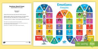 Emotions Board Game English/Portuguese - Ourselves, social, emotional, emotions, feelings, moods, PSED, PSHCE, PSHE, personal, game, activity