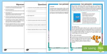 Compréhension écrite : Les poissons - Vie marine, animaux, vertébrés, comprendre, lecture, cycle 2,French