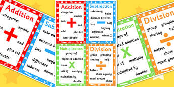 Key Stage 1 Numeracy Vocabulary A3 Poster - Numeracy, Vocabulary
