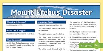 Mount Erebus Disaster Fact File - New Zealand Natural Disasters, earthquake, tsunami, volcano, monsoon, hurricane, flood, tornado, Ere