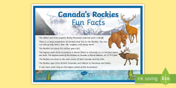 Canada's Rockies Fun Facts Display Poster - rockies, rocky mountains, mountains, Canada, geography, banff